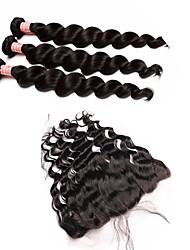 4 Peças Ondulação Larga Tramas de cabelo humano Cabelo Peruviano Tramas de cabelo humano Ondulação Larga