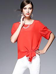 AFOLD® Damen Rundhalsausschnitt Kurze Ärmel Shirt & Bluse Blau / Weiß / Rosa / Rot / Grün / Gelb / Hellblau-5580
