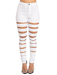 Women's Fashion Popular Sexy Solid Skinny Hole Pants