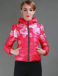 Feminino Curto Casaco Acolchoado,Simples Moda de Rua Activo Floral Casual Esportivo Férias-Algodão Poliéster Sem Enchimento Manga Longa