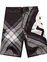Men's Striped / Plaids / Patchwork Casual Shorts,Polyester Black / Blue