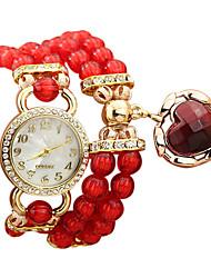 Women's Fashion Pearl Style Band Quartz Bracelet Watch