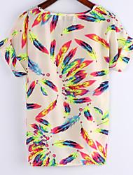Women's Chiffon Batwing Sleeve Floral Print Tops Blouse T-Shirt Plus Size