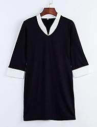 Grandes Tailles Robe Aux femmes Travail simple,Couleur Pleine Asymétrique Mi-long Manches ¾ Bleu Coton / Polyester / AutresPrintemps /
