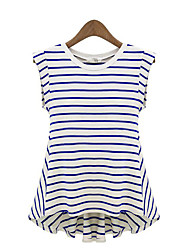 Women's Casual/Daily Street chic Summer Blouse,Striped Round Neck Sleeveless Blue / Black Cotton Medium
