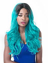 voga europeu longo partido sythetic mix preto peruca azul lago para as mulheres