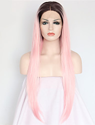 Fashion Long Straight Synthetic Lace Front Wig Glueless 1b/pink Color Wigs