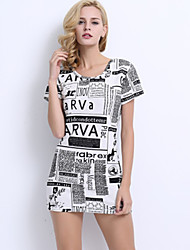 Women's Going out Vintage Plus Size / Bodycon Dress,Print Round Neck Above Knee Short Sleeve White Polyester All Seasons