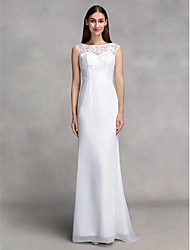 Lanting Bride® Trumpet / Mermaid Wedding Dress Floor-length Bateau Chiffon with Lace