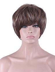 más vendido de Europa y los Estados Unidos con poliester de lino teñido peluca corta natural de 4 pulgadas