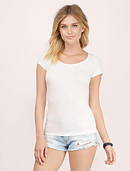 Women's Casual/Daily Street chic Summer Blouse,Solid Round Neck Short Sleeve White / Black Polyester Translucent