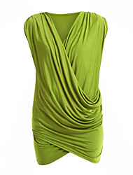 Women's Work Bodycon Dress,Solid Deep V Above Knee Sleeveless Black / Gray / Green Cotton All Seasons