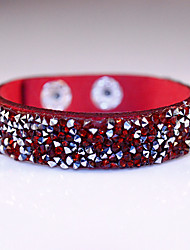 Fashion Classic Vintage Rhinestone Leather Bracelets for women Christmas Gifts