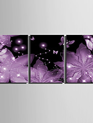 E-HOME® Stretched LED Canvas Print Art  Bright Pink Flowers LED Flashing Optical Fiber Print Set of 3