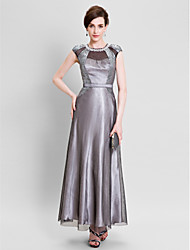 Formal Evening Dress - Vintage Inspired Sheath / Column Jewel Floor-length Satin with Lace