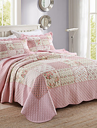 100% Cotton Patchwork  Block  3 pieces Quilted Bedspread set , King Size