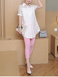 Maternity Shirt Collar Lace Shirt,Polyester Short Sleeve