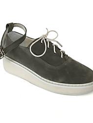Punk Lolita Leather 5 Wedge Gray / Beige Lolita Shoes