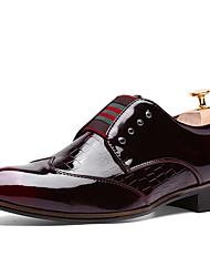 Черный / Красный Мужская обувь Для офиса / На каждый день Материал на заказ клиента Туфли на шнуровке