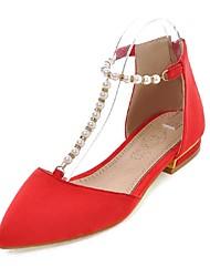 Women's Shoes Fleece Low Heel Ballerina / Pointed Toe Sandals Office & Career / Dress / Casual Black / Red / Gray