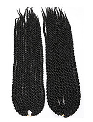 #1 torção cúbico Tranças torção Extensões de cabelo 22 inch Kanikalon 12 costa 115-125g/pack grama Tranças de cabelo