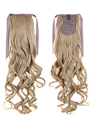 Long Blonde Hair Extentions Synthetic Curly Ponytail 22inch 55cm 100g #16  For America Ladies Drawstring Ponytail