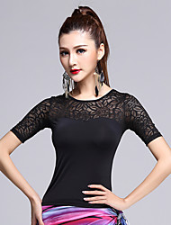 Latin Dance Tops Women's Performance Lace / Milk Fiber Lace 1 Piece Black Latin Dance Short Sleeve Natural