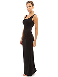 Women's Casual/Daily / Holiday Sexy / Simple Sheath Dress,Solid Round Neck Maxi Sleeveless