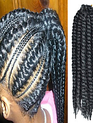 "Dark Grey 12"" Kid's Kanekalon Synthetic 2X Havana Mambo Twist 100g Hair Braids with Free Crochet Hook"