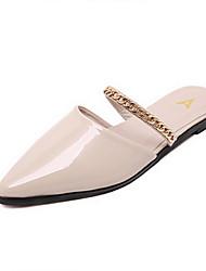 pu chinelos de verão / pontudas sandálias de dedo sapatos femininos casuais salto outros planos Rosa / prata