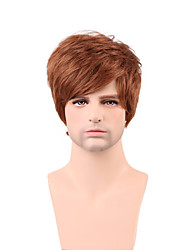 Handsome Short Layered Straight Men's Capless Human Hair Wig 100% Human Hair