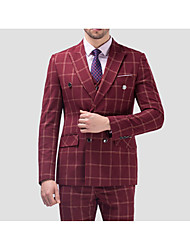 Suits Standard Fit Notch Double Breasted Four-buttons Cotton Checkered 3 Pieces