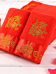 "1 Piece Full Cotton Embroidery Hand Towel 29""by13"" Gragon Pattern Chinese Red  Super Soft"