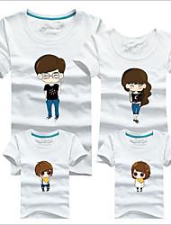 Unissex Conjuntos Casual Estampado Verão Primavera Outono Algodão Manga Curta Camiseta