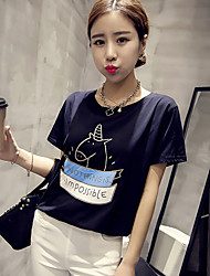 Damen Geometrisch Einfach Lässig/Alltäglich T-shirt,Rundhalsausschnitt Sommer Kurzarm Blau / Weiß Polyester Dünn