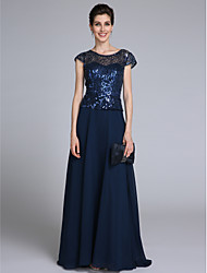 2017 Lanting Bride® Sheath / Column Mother of the Bride Dress Floor-length Short Sleeve Chiffon with Sequins