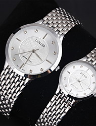 Couple's Men's Women's Watch Imitation Diamond Fashion Watch Lover's Watch Dress Style Stainless Steel Band Quartz Watch