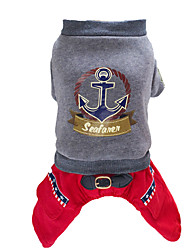 Dog Clothes/Jumpsuit Red / Gray Winter / Spring/Fall Nautical Fashion, Dog Clothes / Dog Clothing-Lovoyager