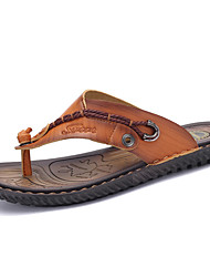 Men's Shoes Nappa Leather Outdoor / Casual Slippers & Flip-Flops Outdoor / Casual Sports Sandals Flat Heel Brown