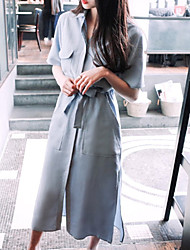 Going out Simple Sheath Dress,Solid Shirt Collar Blue Polyester / Others Spring / Summer Mid Rise Inelastic