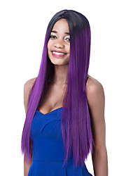 Fashion Long Straight Purple Gradient Central Part Synthetic Party Wig