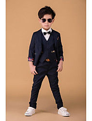 Dark Navy Polyester Ring Bearer Suit - 3 Pieces Includes  Jacket / Shirt / Pants