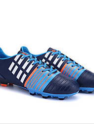 Sapatos Futebol Masculino Azul / Branco Couro Ecológico