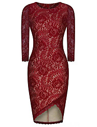 Women's Party/Cocktail Vintage Bodycon / Lace Dress,Jacquard Round Neck Knee-length ¾ Sleeve Red Polyester / Nylon
