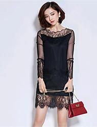 Women's Going out Street chic Sheath Dress,Patchwork Asymmetrical Above Knee Long Sleeve