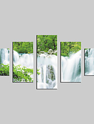 JAMMORY Canvas Set  Modern,Five Panels Gallery Wrapped, Ready To Hang Vertical Print No Frame Landscape Waterfall