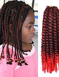 "Black Ombre Red 12"" Kid's Kanekalon Synthetic 2X Havana Mambo Twist 2 Tone 100g Hair Braids with Free Crochet Hook"