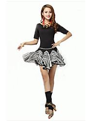 Dança Latina Roupa Mulheres Actuação Elastano Pano 2 Peças Meia manga Natural Saia / Top Top:55cm   Skirt:38cm