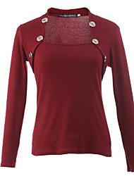 Damen Solide Einfach Lässig/Alltäglich T-shirt,Quadratischer Ausschnitt Herbst Langarm Rot / Schwarz / Grau / Lila Baumwolle Dünn