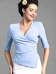 Baoyan® Femme Col en V 1/2 Longueur de manches Shirt et Chemisier Bleu / Rose-160019